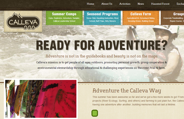 calleva outdoor adventures brown website layout