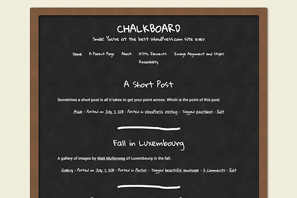 chalkboard design wordpress free theme ui