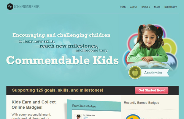 commendable kids website blue layout