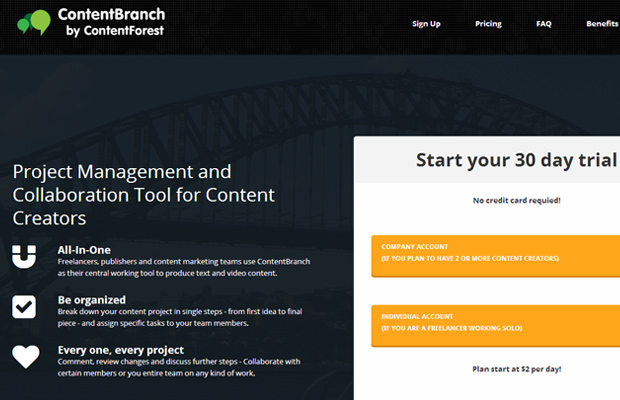 contentbranch contentforest homepage startup layout