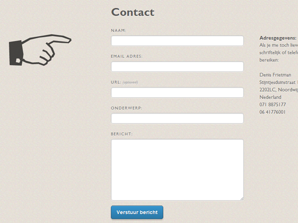 Denis Frietman website contact form ajax