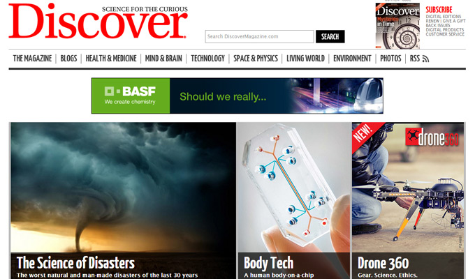 discover magazine website homepage