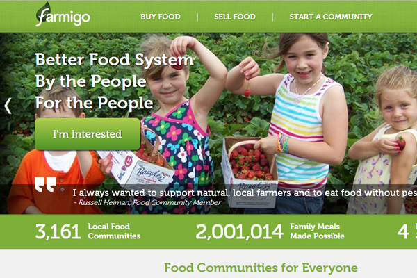 Farmingo website layout homepage