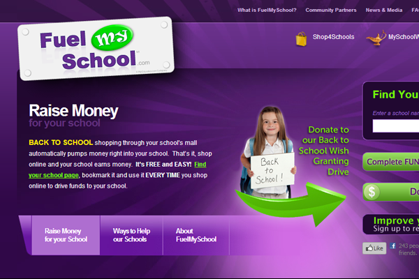 Fuel My School purple website layout design