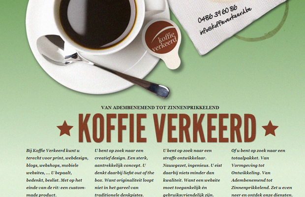 coffee koffie verkeerd website green layout