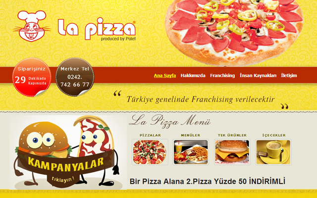 la pizza yellow website cooking design