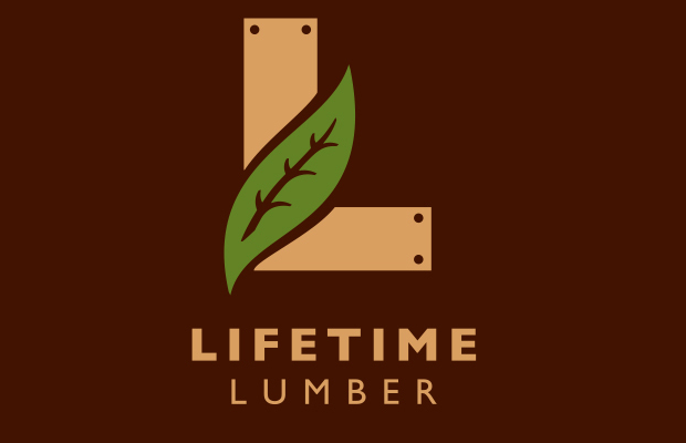 brown leaf lifetime lumber logo inspiration
