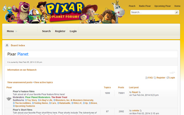pixar planet forums bulletin board interface