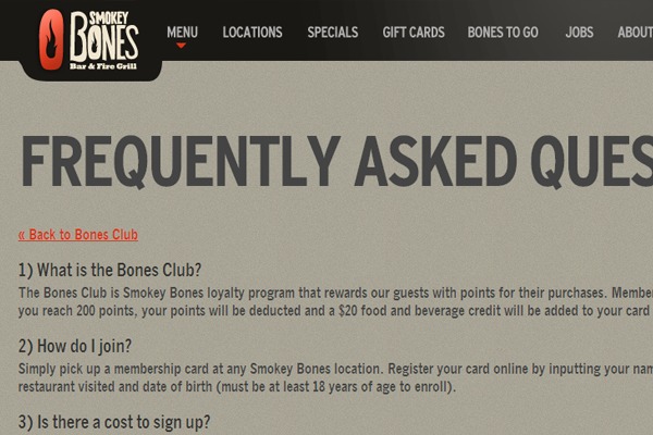 Smokey Bones website layout support FAQ webpage