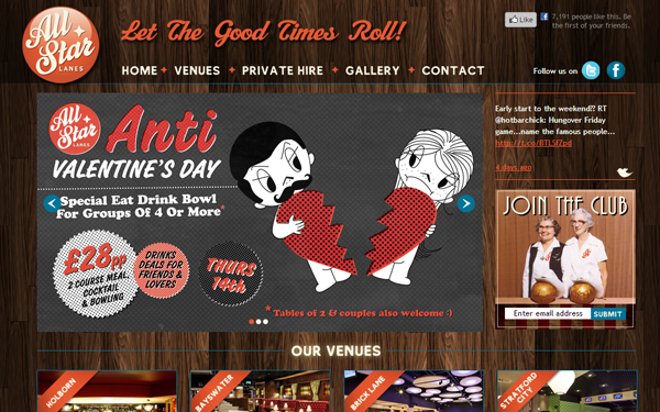 allstar lanes website restaurant blogging posts