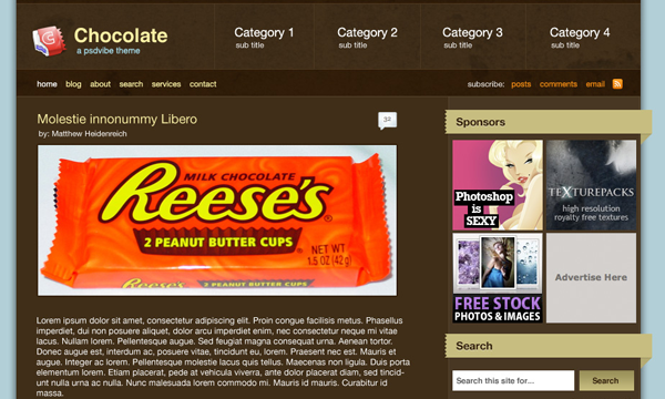 Adobe Photoshop layout tutorial chocolate blog theme