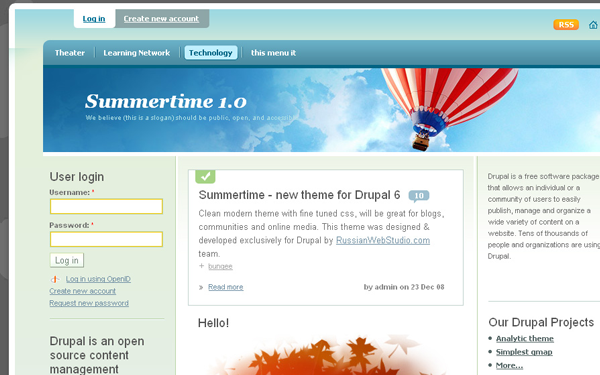 Drupal CMS free summertime template download