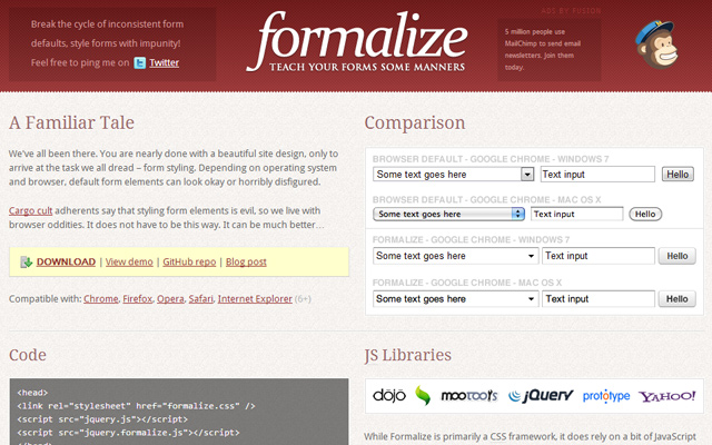 formalize css library open source
