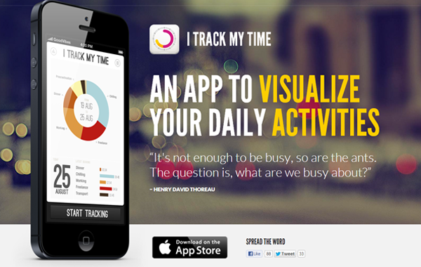 itrackmytime mobile iphone app landing page