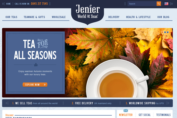 Jenier World of Teas website layout design