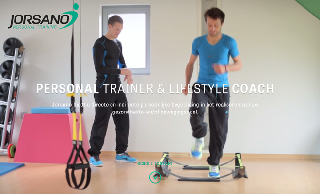 jorsano personal trainer website layout fullscreen video