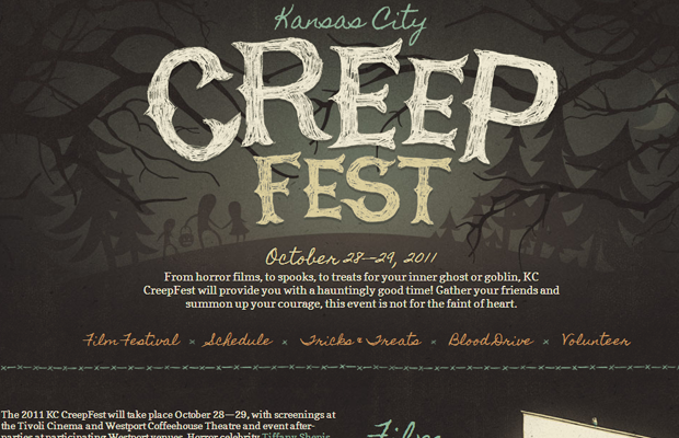 kansas city creep fest dark brown website layout