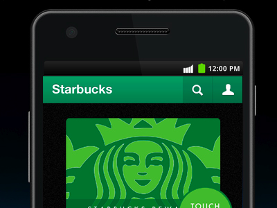 green Starbucks mobile app smartphone Android UI