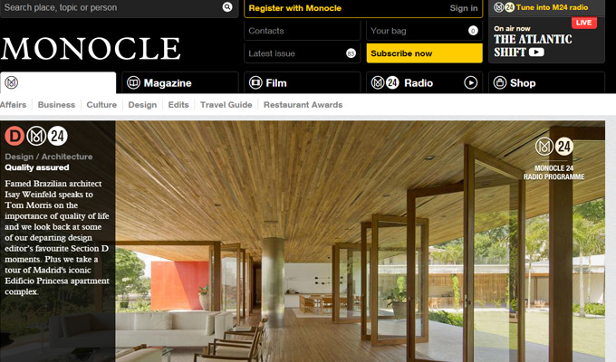 monocle homepage magazine design