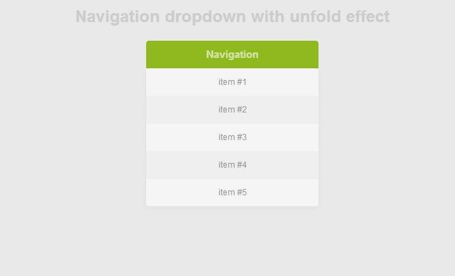 navigation unfold menu dropdown effect