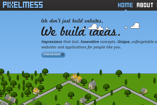Pixelmess website layout portfolio