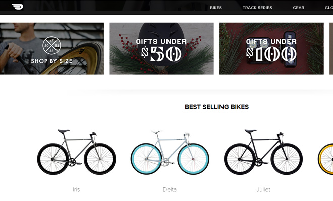 bicycles shopify website homepage purefix
