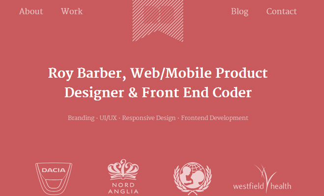 roy barber freelance web designer portfolio layout