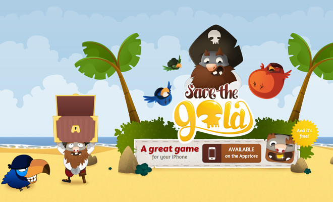 save the gold iphone game landing page vector artwork