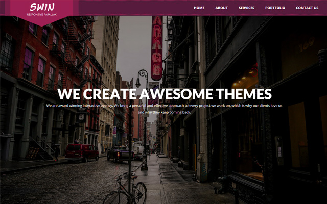 swin responsive parallax website layout one page
