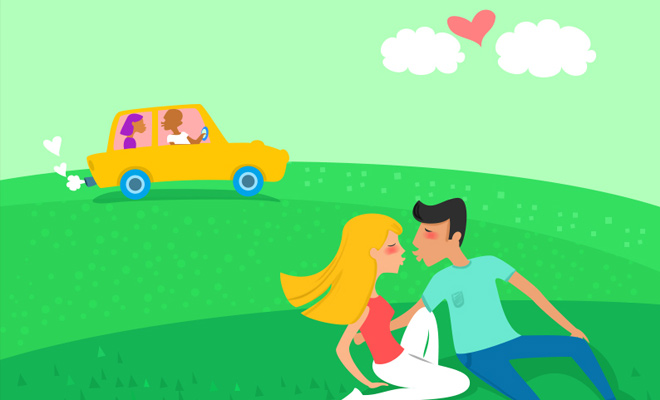 valentines day love kiss in the park vector