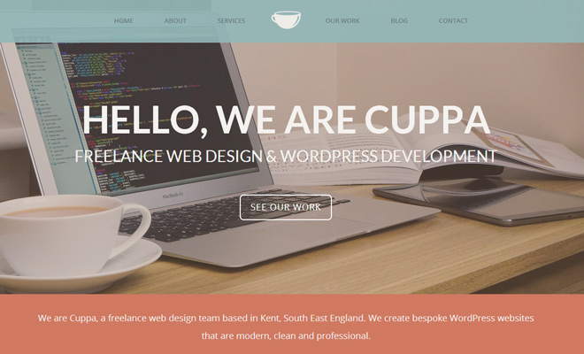 cuppa website header layout design inspiration