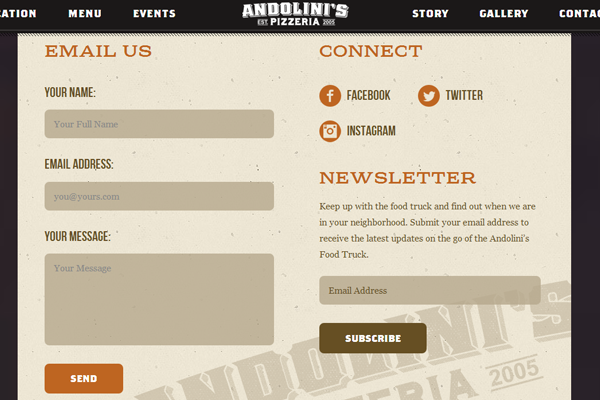 Andolinis Pizzeria pizza webpage layout inspiration