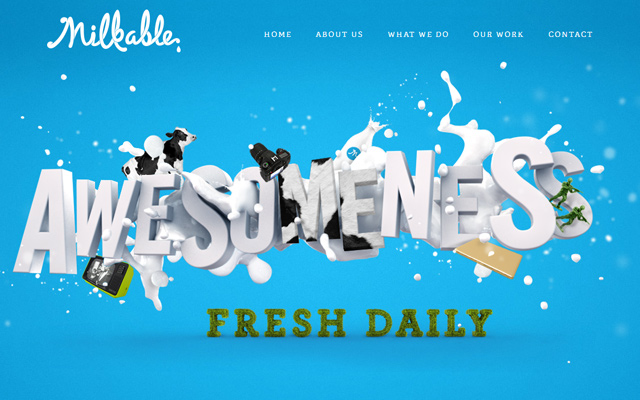 milkable blue website layout design homepage animations