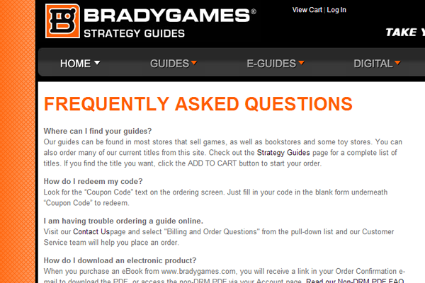 Bradygames ebook guides video game manuals strategy faq support