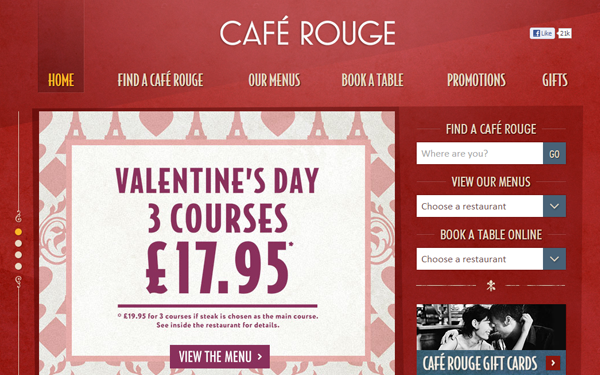 cafe rouge pink reds website layouts