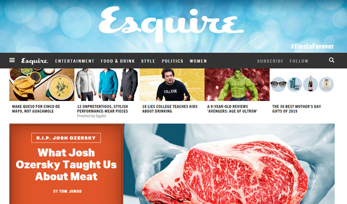 esquire homepage magazine layout