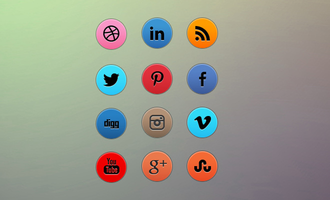 dark logo social media circle icons