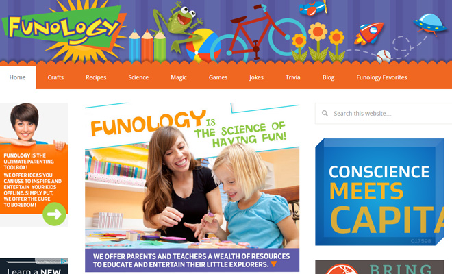 funology website crafts projects homepage