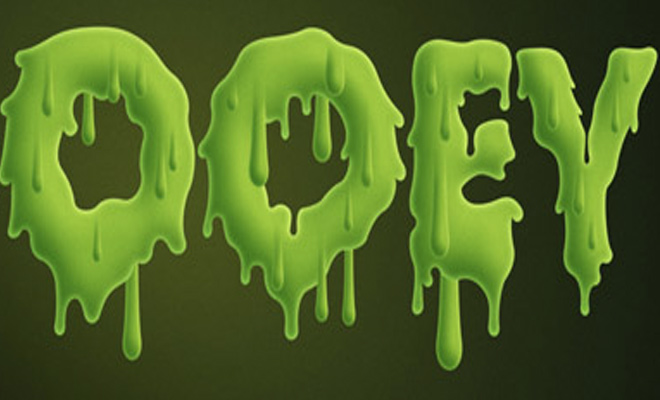 gooey green slime text effect