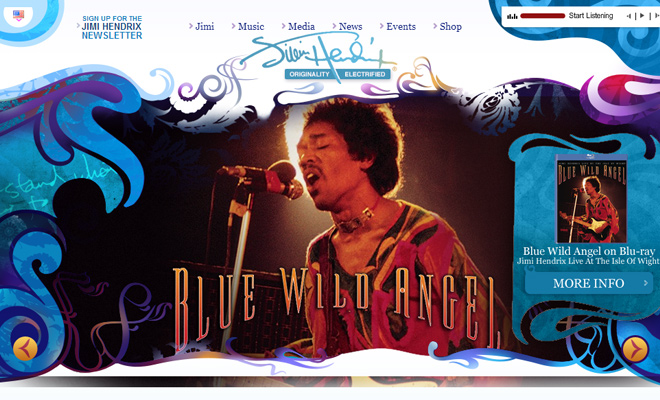 hendrix jimi website layout header inspiration