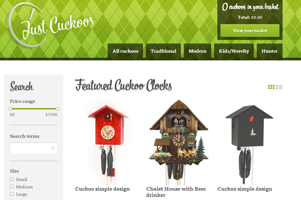 Cuckoo Clocks United Kingdom webshop ecommerce layout