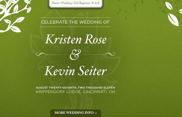 kristen rose kevin seiter wedding website green layout
