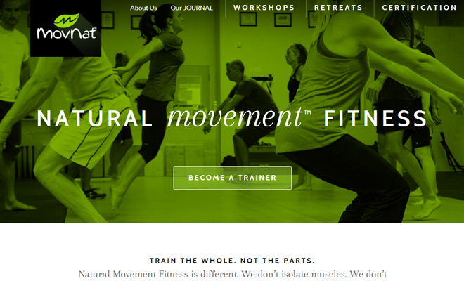 natural movement fitness website design green simple layout