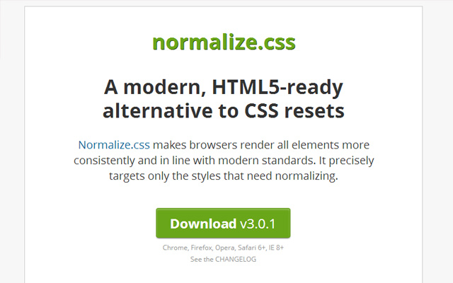 normalize css open source library freebie