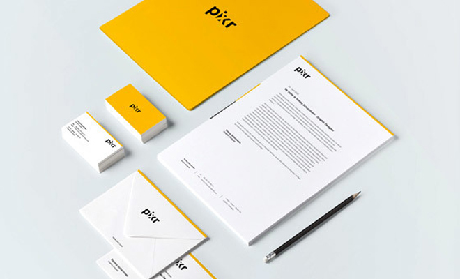 pixxr branding print design yellow white inspiration