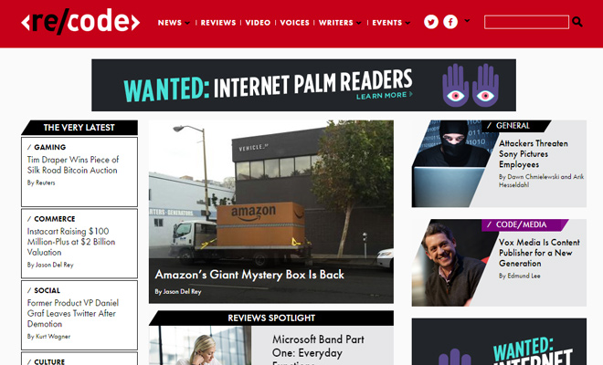 recode red technology news layout inspiration