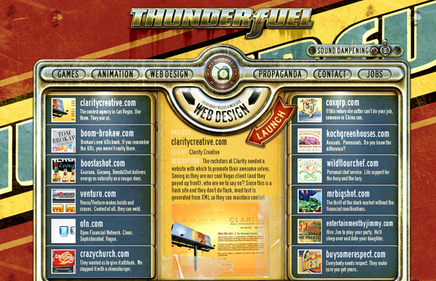 flash website layout thunderfuel inspiration