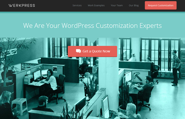 werkpress homepage fullscreen wordpress theme customization