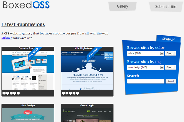 css3 gallery boxed effects webdesign showcase