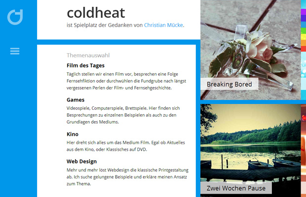 coldheat german weblog big typography homepage